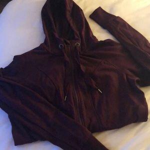 90 Degree Burgundy Long Zip Up Athletic Hoodie